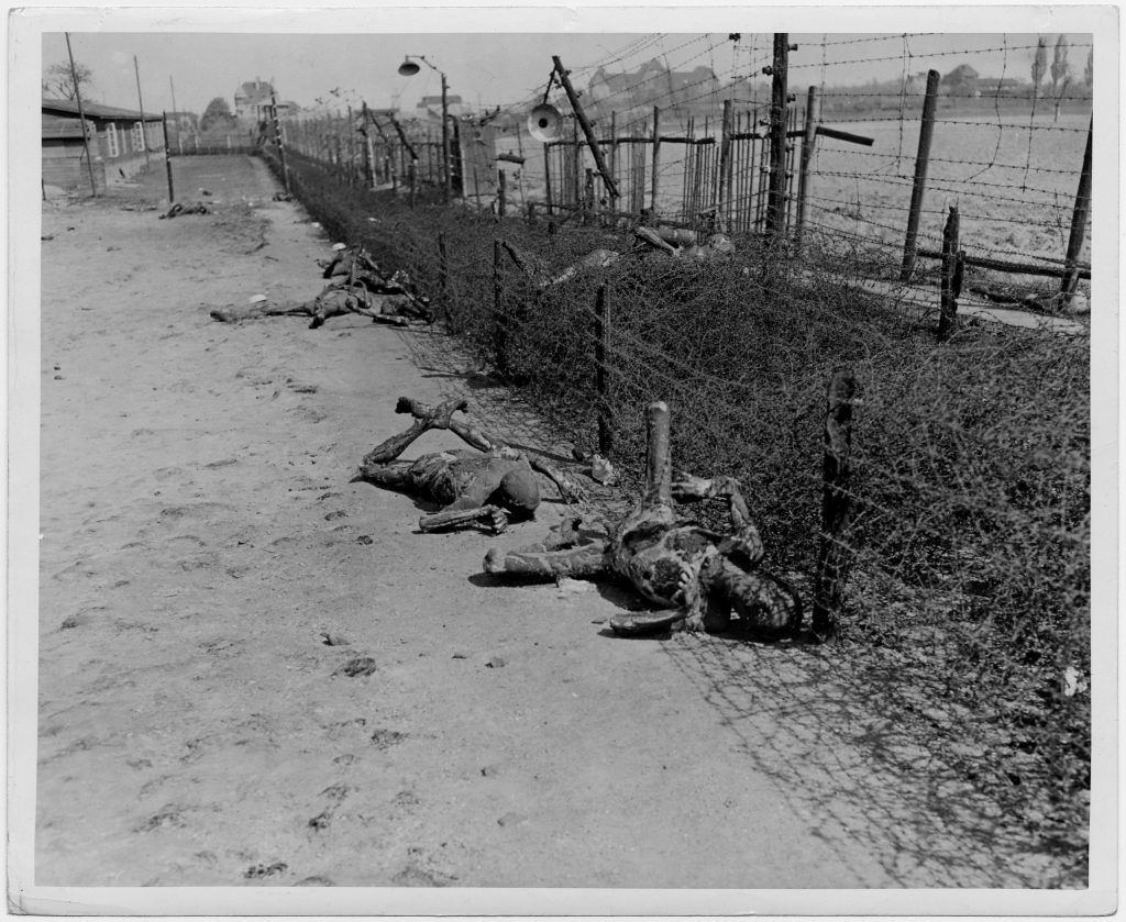 Bodies of prisoners evacuated from the Gross-Rosen concentration camp after the massacre of Abtnaundorf/Leipzig on 18 April 1945 © DHM