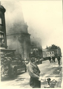Leo Baeck Archives, Firemen fighting the fire at a Bamberg synagogue after Kristallnacht November Pogrom (Kristallnacht), Bamberg; Jewish Community Collection AR 2399, F 244