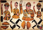 Cut-out sheet with caricatures of Hitler, Göring, Goebbels and Ribbentrop, after 1945, DHM