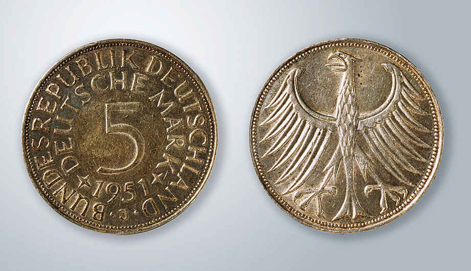 5 Deutsche Mark, 1951. (Inv.Nr. N 96/43)