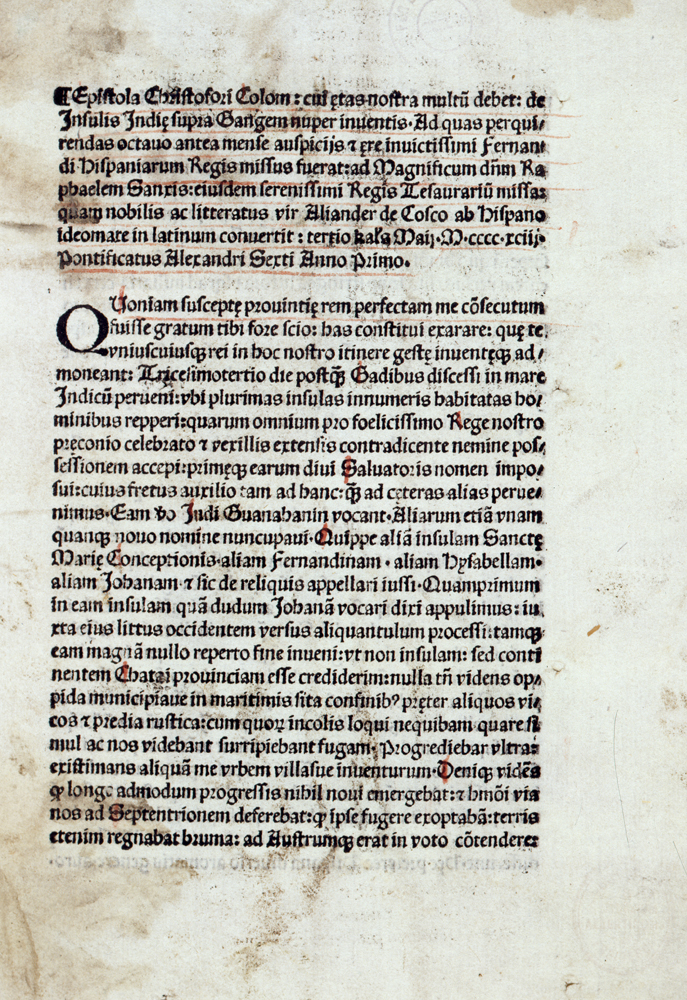 Epistola de insulis nuper inventis: Letter from Christopher Columbus to Luis de Santángel, private treasurer to King Ferdinand of Spain, after 23 April 1493, inv. no. R 53/2894, © DHM