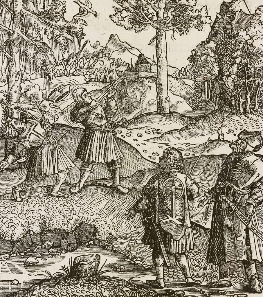 Bow breaking during fowling. Image 34 from the Theuerdank of Maximilian I. Augsburg, 1519 © DHM