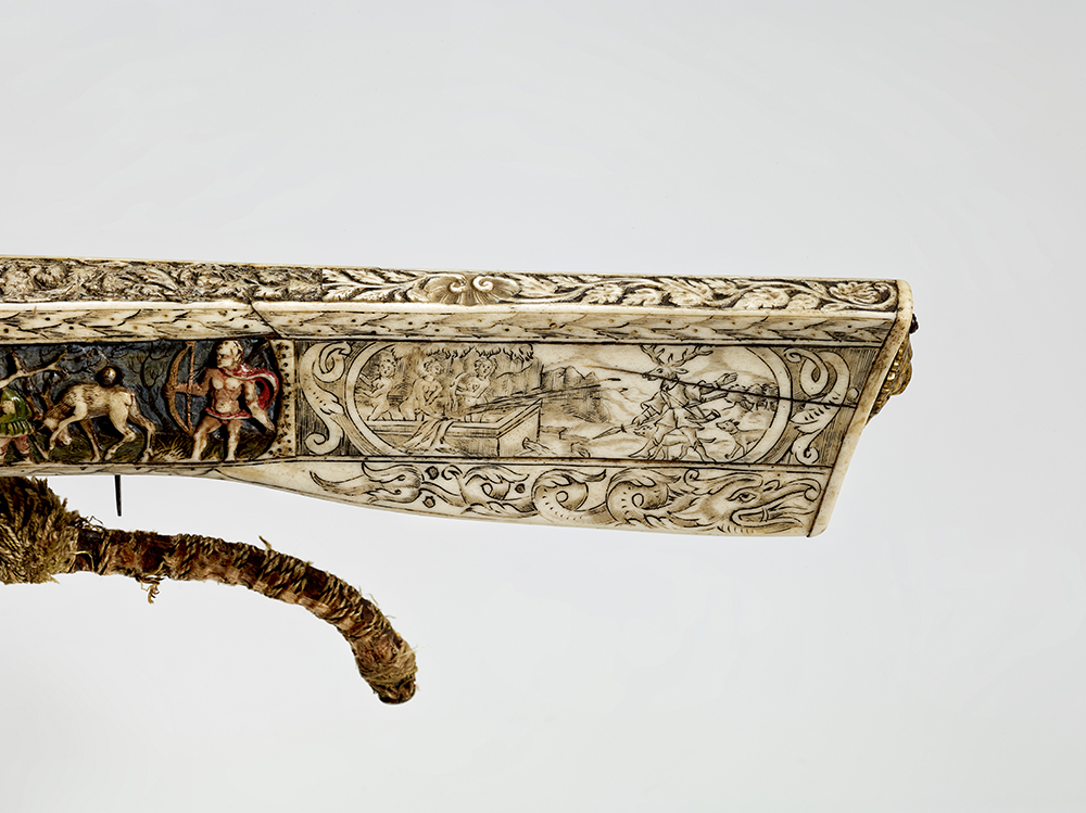 Diana and Actaeon, detail of crossbow (Halbe Rüstung) with polychrome relief decoration, southern Germany, 1567, inv. no. W 1132, © DHM