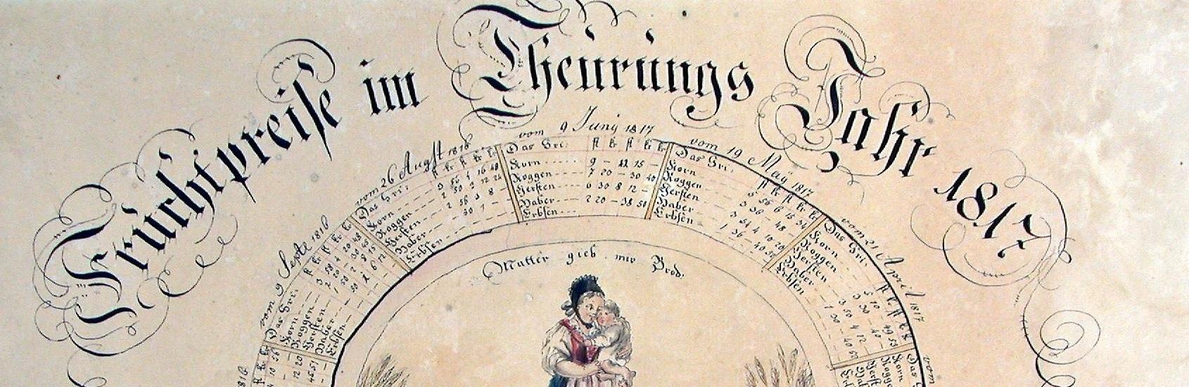 """""""Teuerungsring"""" für die Fruchtpreise, 1816/1817. >"""
