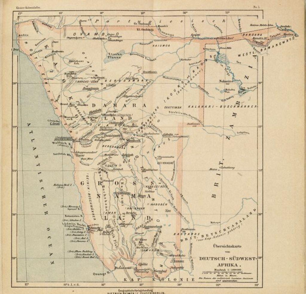 Afrika Karte Deutsch.Lemo Bestand Objekt Karte Von Deutsch Südwestafrika 1898