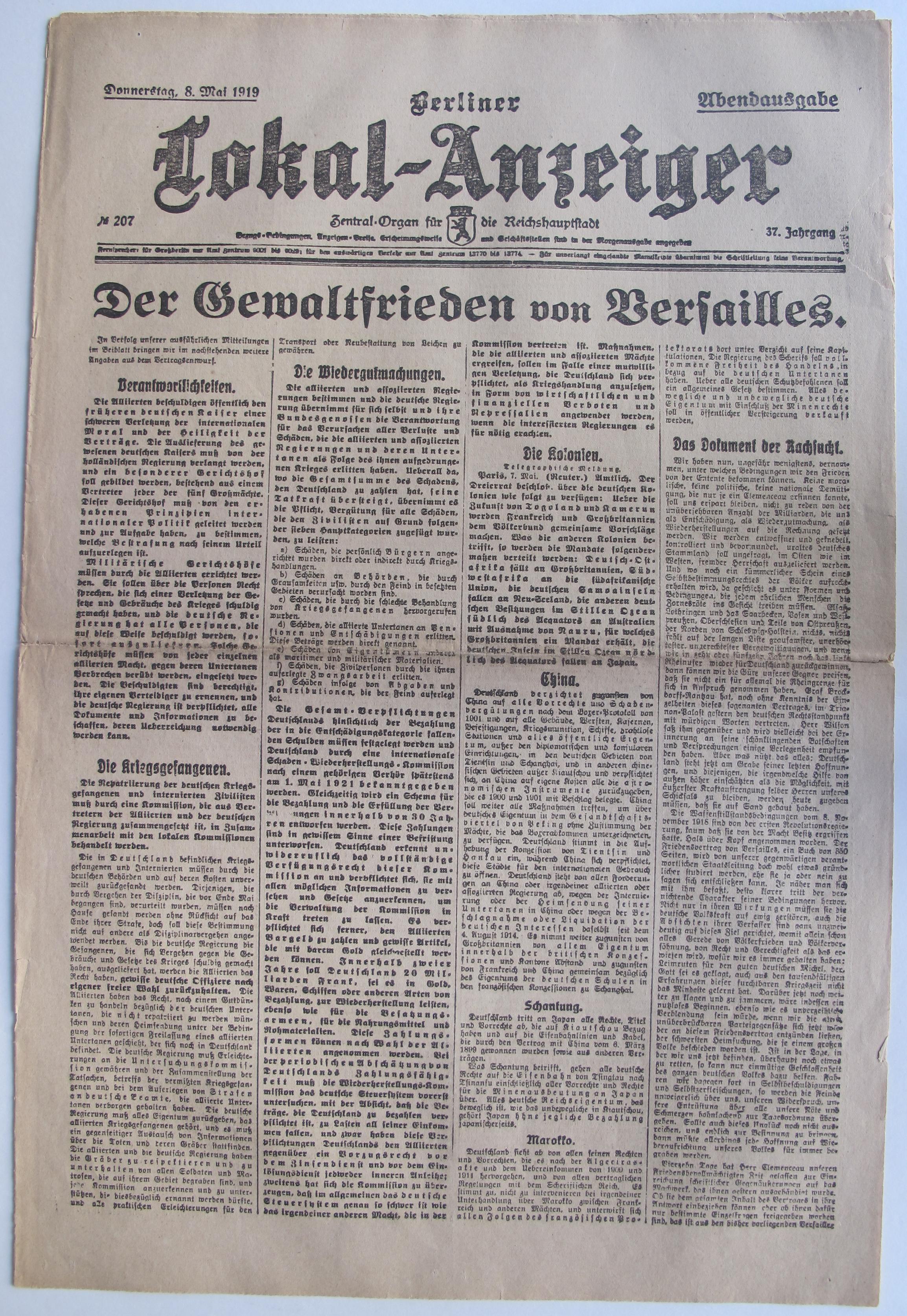 Lemo Bestand Objekt Zeitungstitel Der Gewaltfrieden Von