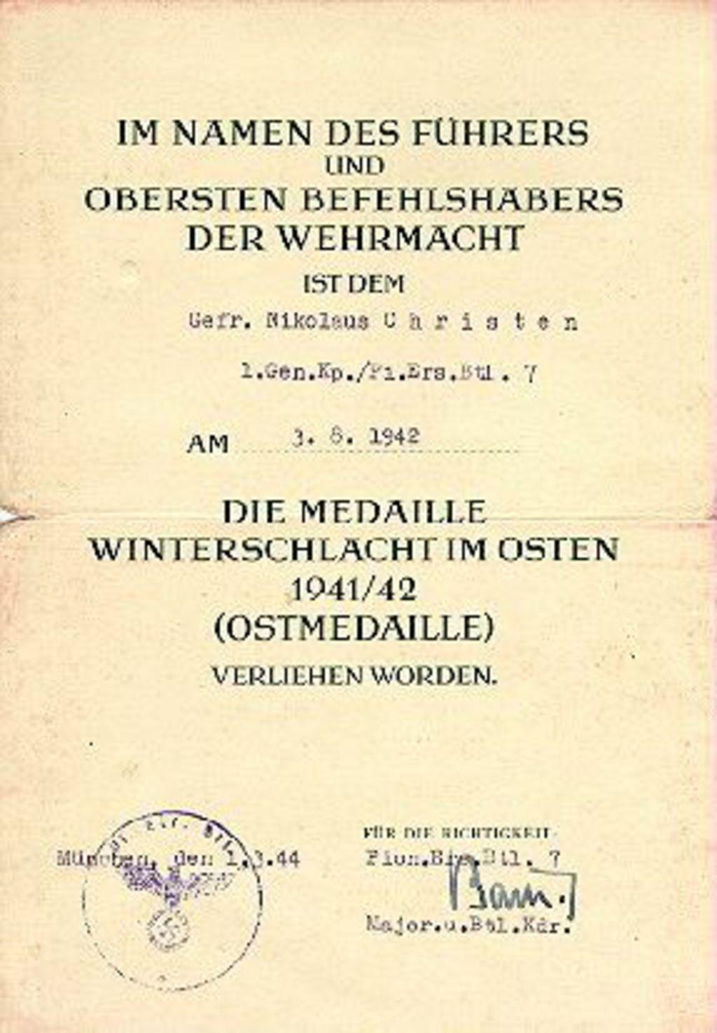 LeMO Bestand - Objekt - Verleihungsurkunde für die Medaille ...