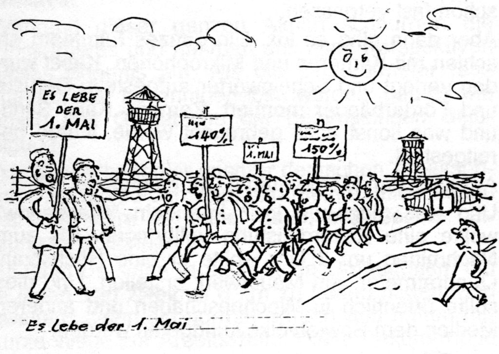 Zeichnung von Kurt Elfering: 1. Mai im Kriegsgefangenenlager Borowitschi