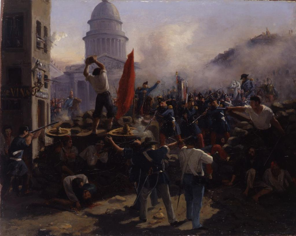 Gemälde: Vernet, Horace: Barrikadenkampf in der Rue Soufflot in Paris am 25. Juni 1848