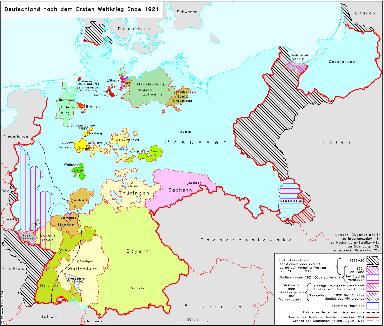 Deutsches Reich Karte.Lemo Bestand Objekt Das Deutsche Reich Nach Dem Ersten Weltkrieg
