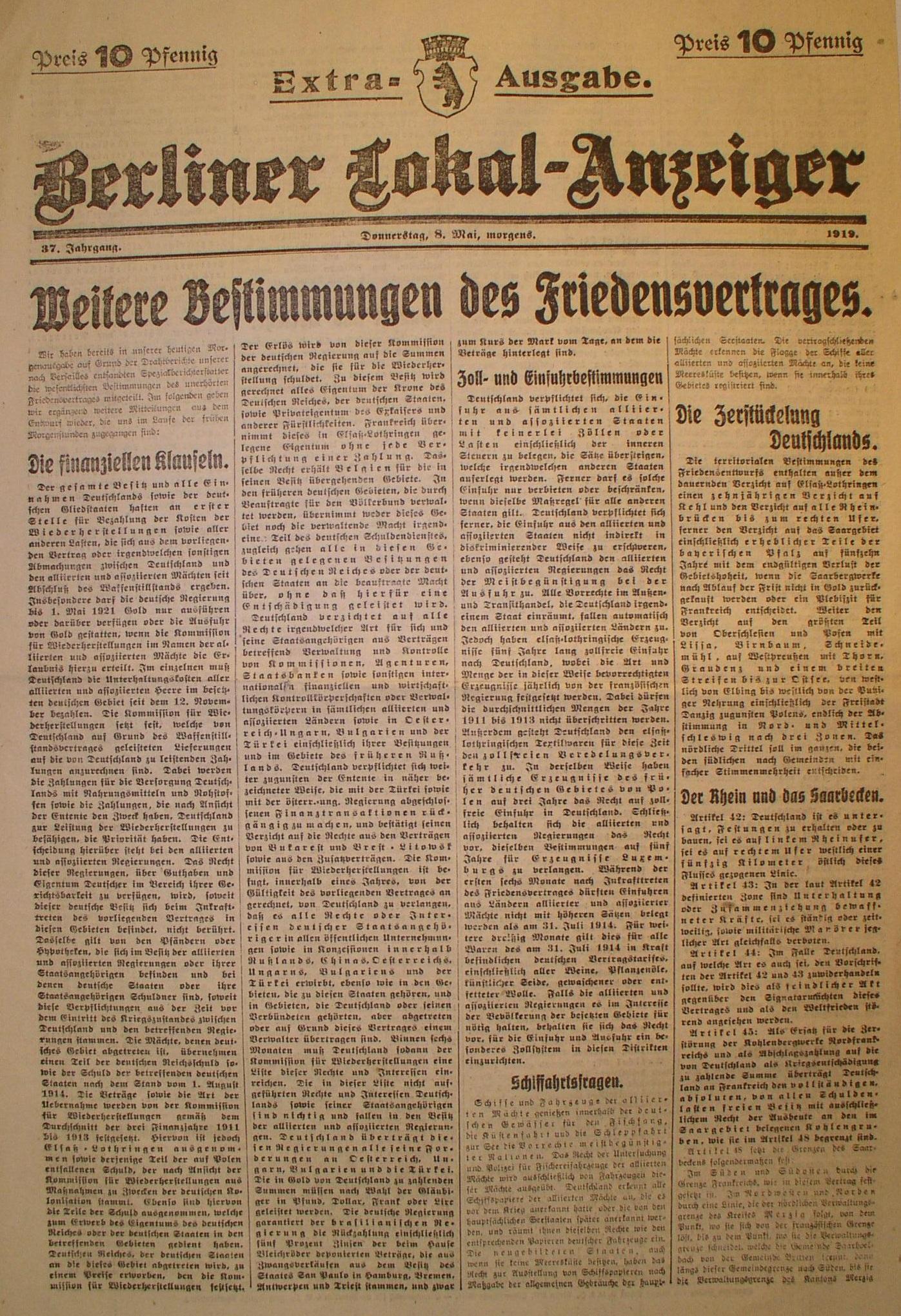Lemo Zeitzeugen Oskar Münsterberg Versailler Vertrag