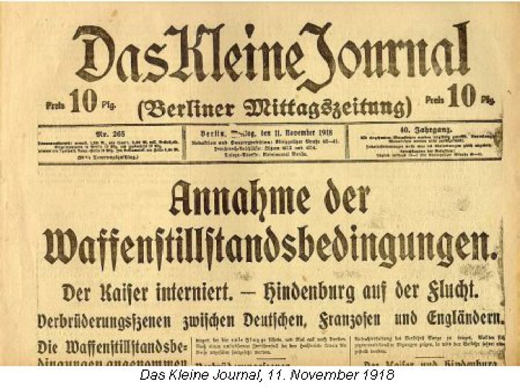 lemo bestand objekt das kleine journal titelblatt 11 november 1918. Black Bedroom Furniture Sets. Home Design Ideas