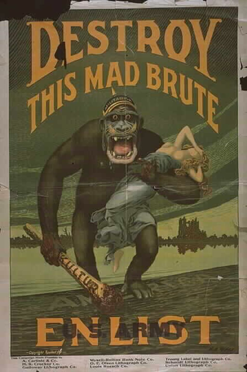 "Plakat: ""Destroy this mad brute"", 1917/18"